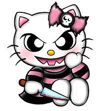 "Evil Hello Kitty w/knife sticker decal 5"" x 4.6"""