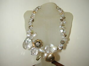 """Abra Couture Cluster Choker Necklace Gold Crystal 16-20"""""""