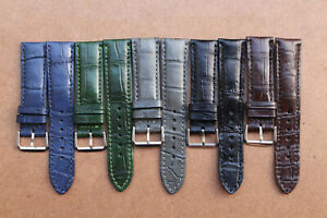 17mm/16mm Genuine Crocodile Alligator Skin Leather Watch Strap Band With Buckle