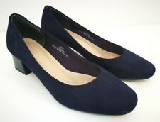 M&S Insolia Ladies Navy Blue Suede Leather Mid Heel Court Shoes UK 7.5 Worn Once