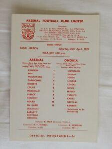 Football Programme Arsenal v Omonia Friendly 1969/70