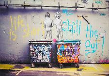 BANKSY FRAMED CANVAS STREET GRAFFITI PAINTING ART PRINT  TWO BOYS ART PRINTED