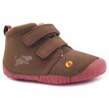 Start Rite Fetch Infant Baby Boys UK 2 F Brown Soft Leather Touch Strap Shoes