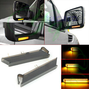 Sequential LED Under Side Mirror Turn Signal Lights Len For Ford F-150 2004-2014