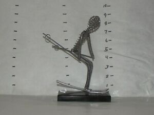Mid-Century coiled Wire Down Hill Skier Sculpture / Hong Kong