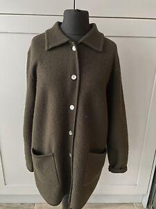Ladies EAST Dark Brown 100% Boiled Wool Jacket Coatigan Size S/M