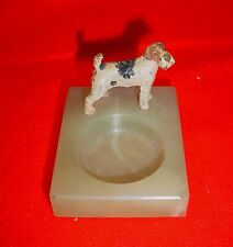 Antique Art Deco Green Onyx Ashtray with Fox Terrier