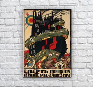 Vintage Soviet Propaganda Poster Print 'Death to World Imperialism' / USSR, CCCP