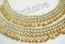 Belly Dance Gold Plated Stones Gold Bells/Ghungroo Payal /Anklets Party Jewelry