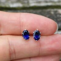 Natural Iolite Sterling 925 Silver Stud Earrings 7 x 5mm Oval Gemstone Jewellery