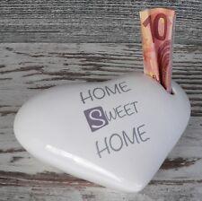 Spardose Herz weiß Home Sweet Home Geldgeschenk Sparschwein Keramik mit Schloss