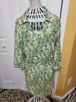 Cabi Womens 3/4 SleeveStyle 280 Leaf Print Dress Faux Wrap Tropical Green Size M