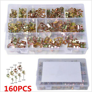 160pcs Spring Clips Fastener Universal Fit For Car Air Hose Fuel Line Water Pipe