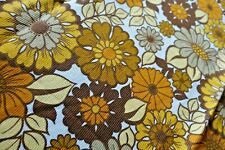 More details for vintage floral daisy curtains 1960s 70s hippie flower power - brown orange vgc
