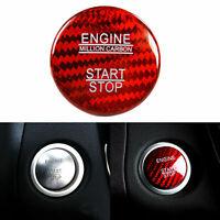 Red Carbon Fiber Engine Start Stop Button Trim for Mercedes Benz CLA GLS Class
