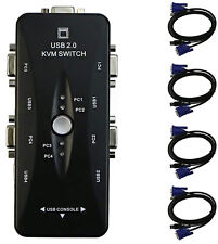 4 Port USB 2.0 KVM Switch Box with 4 VGA USB Cables for PC Monitor Keyboard