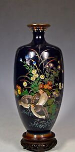 FINE SILVER WIRE ANTIQUE JAPANESE CLOISONNE VASE WITH GROUSE