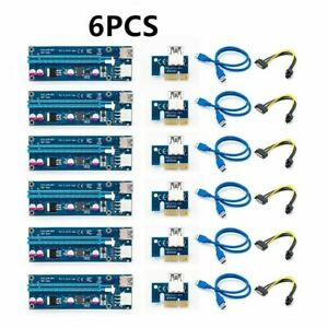 6Pcs PCI-E Riser Card 1x to 16x USB 3.0 VER 006C Mining Extender Board