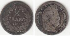 Monnaie Française 1/2 franc argent Louis-Philippe 1833 D RARE