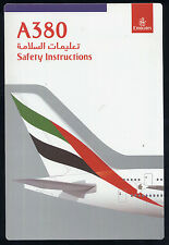 EMIRATES Airbus A 380 SAFETY CARD airline brochure sc687 ax