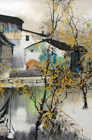 Framed Print - Traditional Japanese Artwork House over Water (Oriental Picture)