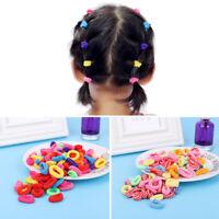 100x Small Baby Girl Kids Mini Hair Elastics Bobbles Soft Bands Snag Free Colors