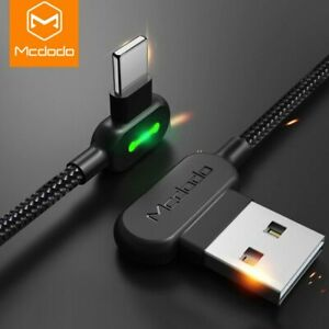 Mcdodo Braided LED 90 Degree Charging Lighting USB Cable for iPhone 6s 7 8 iPad