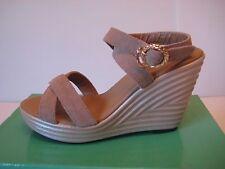 NEW Women Faux Suede Wedge Heel Platform Open Toe Sandal Sz 6