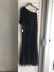Adrianna Papell New One Shoulder Long Beaded Dress Navy/Black Sz AU16 US12 tag
