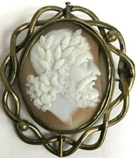 Antique Large Victorian Pinchbeck Carved Shell Cameo Brooch Safety Pin