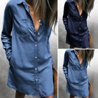 Womens Button Down Denim Mini Shirt Dress Long Sleeve Collared Jeans Tops Blouse