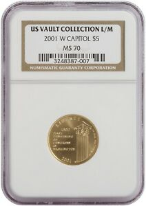 2001 W CAPITOL $5 US VAULT COLLECTION L/M COIN. NGC: MS 70. CERT: 3248387-007