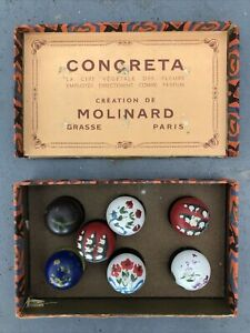 1932 Set of (7) MOLINARD CONCRETA Solid Perfume Compacts In Original Box