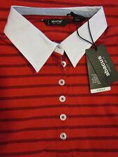 NWT ABACUS GOLF Ladies GRANDEUR Striped Polo Shirt STRETCH Cotton Spandex Sz M