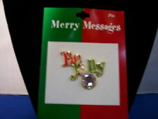 Christmas Pin Be Jolly Enamel with Stone By Roman Inc 3