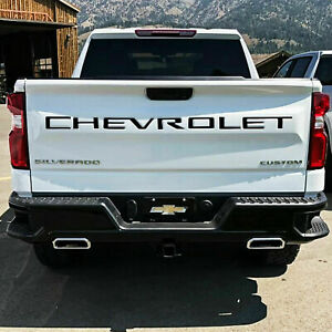 BLACK Tailgate Insert Letters Decal Vinyl Stickers for Chevrolet Silverado 19-21