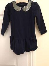 BABY GIRLS 'TEDBAKER' NAVY/SILVER SEQUIN COLLAR DRESS. SIZE 9-12 MONTHS.LONG SLV