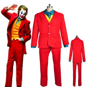 Joker Mens Movie Arthur Fleck Suit Clown Halloween Cosplay Costume Fancy Dress