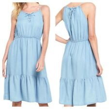 V @ Very Plus Size 24 Chambray Blue Belted Lace Up DRESS Party Holiday New £40