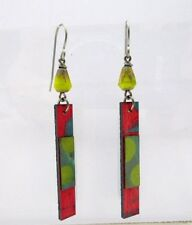 Boots Raven Handcrafted Birch Wood Earrings Green & Orange Hand Painted Earrings