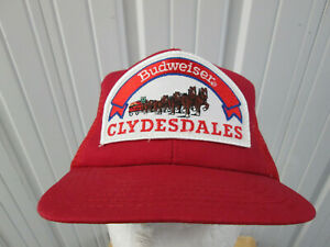 VINTAGE BUDWEISER CLYDESDALES RED MESH TRUCKER SNAPBACK HAT CAP 80s ANNHEUSER