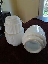 "Pair of Vintage/Antique Art Deco Milk Glass Shades 9"" High"