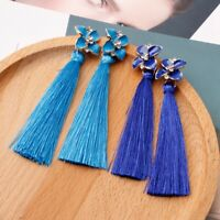Bohemian Dainty Flower Crystal Long Tassel Fringe Boho Dangle Earrings For Lady