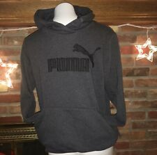 Puma Women's Elevated Logo Pullover Drycell Hoodie Dark Charcoal Gray  XL