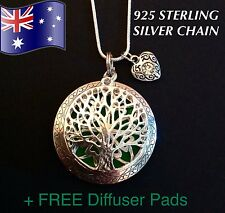 Tree of Life Aromatherapy Oil Diffuser 925 Sterling Silver Necklace + FREE pads