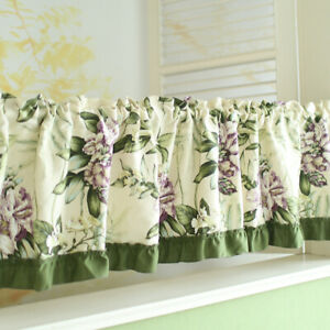Half Curtain Floral Cotton Kitchen Cabinet Door Short Curtains Window Drapes 1pc