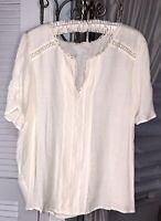 NEW Plus Size 3X Beige Blouse Lace Crochet Flutter Sleeve Top Shirt