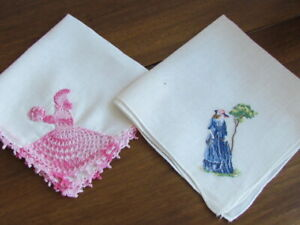 Pair Vintage Fine Cotton Patterned Hankies Lady Handkerchief Accessory