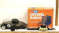 3 Pc Novelty AM Radio Lot Mini Labs Tech Crystal + Rolls Royce Car + Wrist Radio