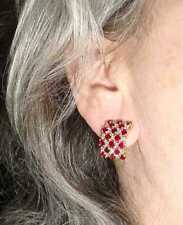 18K  YG   RUBY   DIAMOND   EARRINGS